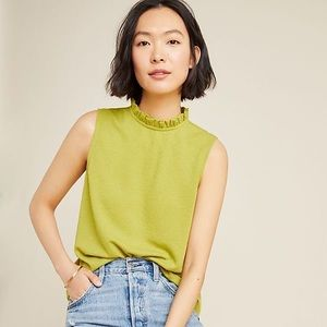 Anthropologie Curtis Ruffle Neck Top Chartreuse